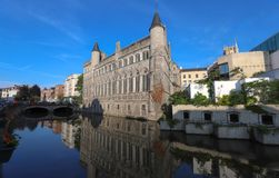 Geeraard o diabo ? uma constru??o do s?culo XIII da arquitetura g?tico em Ghent, B?lgica imagens de stock