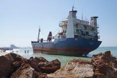 Geerdeter Frachtschiff-Unfall Stockbild