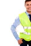 Geerntetes Bild eines männlichen Erbauers Stockfotos