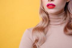 Geerntetes Foto junger blonder Dame mit den hellen Make-uplippen Lizenzfreie Stockfotos