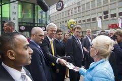 Geert Wilders que faz campanha em Haia, Holanda foto de stock royalty free