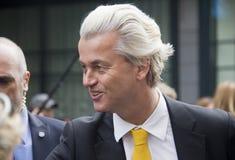 Geert Wilders que faz campanha em Haia, Holanda imagem de stock