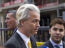 Geert Wilders que faz campanha em Haia, Holanda fotografia de stock royalty free