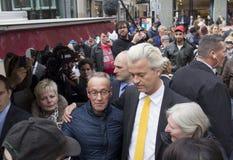 Geert Wilders que faz campanha em Haia, Holanda imagens de stock royalty free