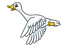 Geese funny birds fly cartoon. Illustration animal character stock illustration