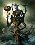 Geest van Halloween op de begraafplaats Royalty-vrije Stock Foto