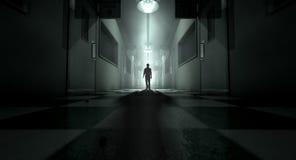 Geestelijk Asiel met Spookachtig Cijfer stock fotografie