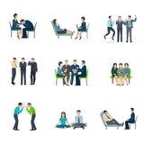 Geestelijke geplaatste gezondheids vlakke pictogrammen Stock Foto's