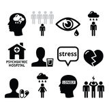 Geestelijke gezondheidspictogrammen - depressie, verslaving, eenzaamheidsconcept Stock Afbeelding