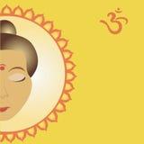 Geestelijke Om op Achtergrond Mandala Stock Afbeelding