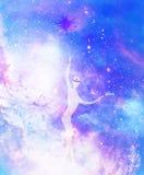 Geestelijke wezens in het heelal Het schilderen en grafisch effect royalty-vrije illustratie