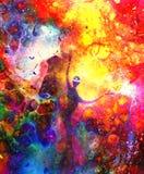 Geestelijke wezens in het heelal Het schilderen en grafisch effect vector illustratie