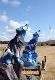 Geestmanier Wolf Statues royalty-vrije stock afbeelding