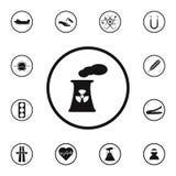 gefährliche Ikone des Atomkraftwerks des Zeichens Ausführlicher Satz Warnzeichenikonen Erstklassiges Qualitätsgrafikdesignzeichen lizenzfreie abbildung