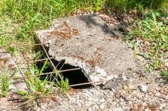 Gefährliches geöffnetes Einsteigelochloch umfasst mit schädigender gebrochener konkreter Platte, Gefahr für Leute und Tieren im P Stockfoto