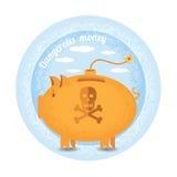 Gefährliches Geld Stand mit drei Sparschweinen wie eine Bombe Weinleseretrostilschatten-Einkommensikone auf blauem Nachtkreishint Lizenzfreie Stockbilder