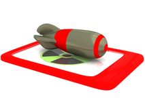 Gefährliches radioaktives rotes Tabletten-Telefon Lizenzfreies Stockfoto