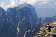 Gefährliches Treffen in Meteora, Griechenland Stockbild