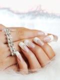 Gefälschte Nägel auf Händen der Frau Lizenzfreie Stockbilder