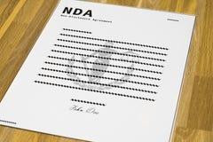 Gefälschte NDA-Form - winklig stockfotos