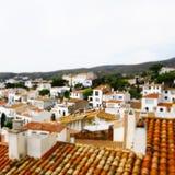 Gefälschte Neigungschicht der Ansicht von Cadaques Stockbilder
