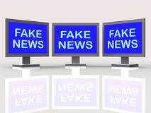 Gefälschtes Nachrichten-Fernsehen sortiert die Bedeutung der Irreführungsillustration 3d aus stock abbildung
