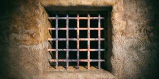 Gefängnis, Gefängnisfenster mit rostigen Stangen auf altem Wandhintergrund Abbildung 3D Lizenzfreie Stockfotos