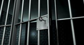 Gefängnis-Zelle mit offener Tür stockfotografie