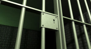 Gefängnis-Zellen-Tür gesperrt Stockfotos