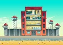 Gefängnisgebäudequerschnitt-Innenraumvektor lizenzfreie abbildung