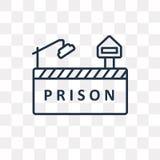 Gefängnisvektorikone lokalisiert auf transparentem Hintergrund, lineare PR stock abbildung