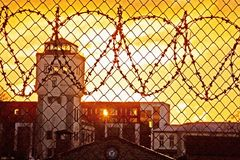 Gefängnisyard lizenzfreies stockfoto