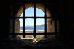Gefängniszelle, Methoni Schloss Stockbilder
