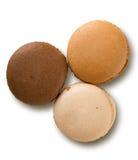 Gefärbt drei macarons Stockbilder