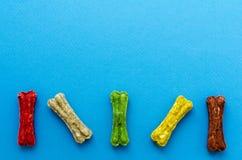 Gefärbt Kauen von Knochen auf blauem Hintergrund lizenzfreies stockfoto