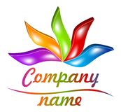 gefärbtes 3D treibt Logo Blätter Stockfoto