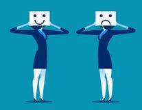 gefühl Geschäftsfrauholdinglächeln und traurige Maske Lizenzfreie Stockfotografie