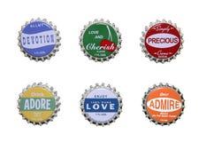 Gefühl-themenorientierte Flaschenkapseln Lizenzfreie Stockfotos