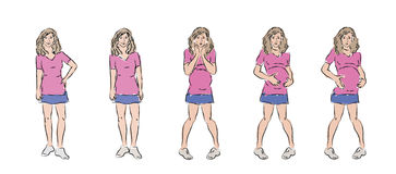 Gefühle einer jungen schwangeren Frau Stockfoto