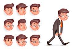 Gefühle gefielen glückliche erfüllte müde müde Ermüdungs-melancholischem traurigem Geschäftsmann-Walk Cartoon Design-Charakter-Ve Stockfotos