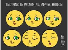 Gefühle - Verlegenheit, Traurigkeit, Langeweile Vektor Abbildung