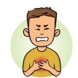 Gefühls-Schmerz in der Brust des jungen Mannes Angina und Herzinfarkt Flache Vektorillustration Getrennt auf weißem Hintergrund lizenzfreie abbildung
