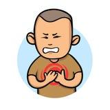 Gefühls-Schmerz in der Brust des jungen Mannes Angina und Herzinfarkt Flache Vektorillustration Getrennt auf weißem Hintergrund stock abbildung