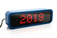 Geführte Kastenanzeige von 2019 neuem Jahr, lokalisiert auf Weiß stockfotografie