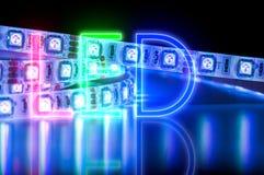 Geführte Neonbeleuchtung, blaue Farbe stockbilder