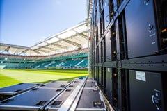 Geführter Schirm installiert auf das Legia-Stadion in Warschau Stockbilder