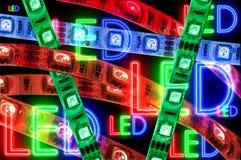 Geführter Streifen rgb, rote Farbe, Abschluss oben Lizenzfreies Stockfoto