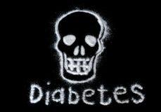 Gefahr des Zuckers Schädigen Sie das Konzept des raffinierten Zuckers, das einen Schädel bildet Wenn der Textdiabetes auf einem s lizenzfreies stockbild