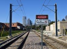 Gefahr Gefährlich für Menschen über diesem Punkt hinaus Stockfotografie