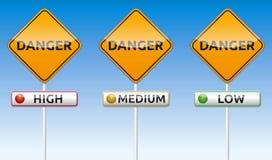 Gefahr - hoch, mittlere, niedrig Lizenzfreies Stockbild
